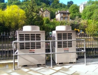 condenser units behind restaurants