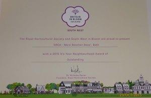 It's Your Neighbourhood 2015 certificate - Outstanding!