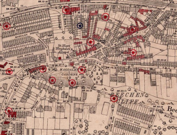 Sites where bombs fell in the Holloway area in April 1942. Courtesy Bath Record Office.