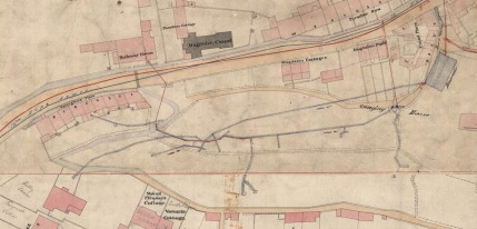 Detail from Cotterell's map of 1852-54 showing spring water supplies. Courtesy Bath Record Office.