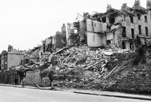Bomb damage to St Mary's Buildings & Lisbon Terrace in 1942. Courtesy of Bernard Thomason.