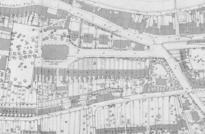 Detail of OS map of 1885 showing St Mark's Road. Reproduced by kind permission of Bath Record Office.