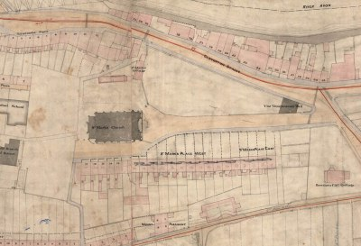 Part of the Cotterell Map of 1852-4 showing the southern terrace and the western access to the church. Reproduced by kind permission of Bath Record Office.